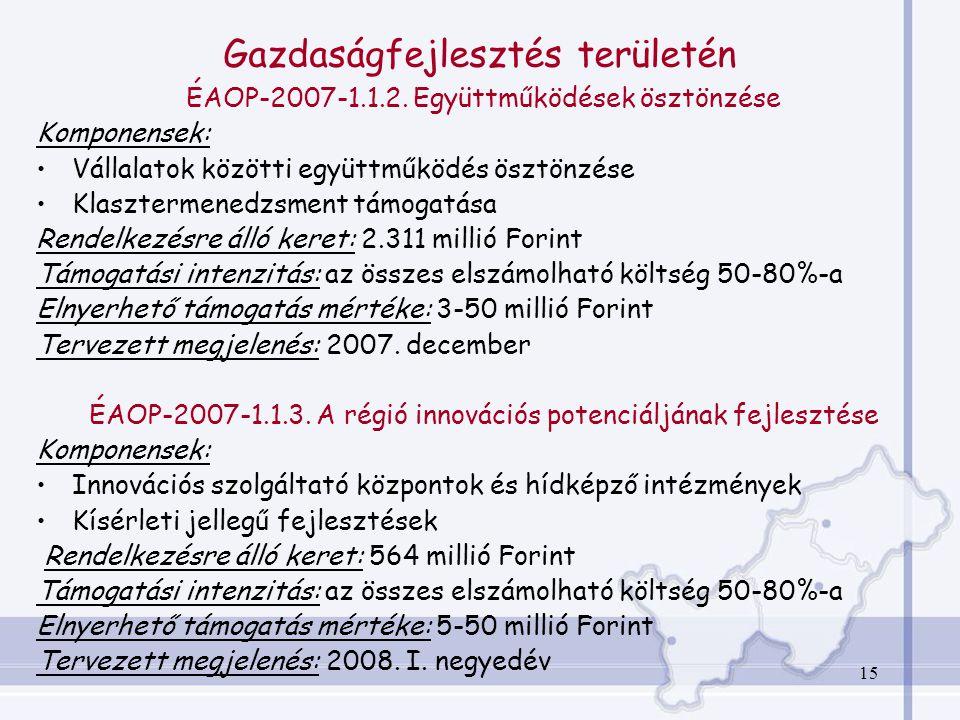 15 Gazdaságfejlesztés területén ÉAOP-2007-1.1.2.