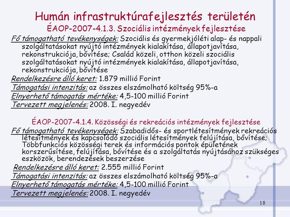 18 Humán infrastruktúrafejlesztés területén ÉAOP-2007-4.1.3.
