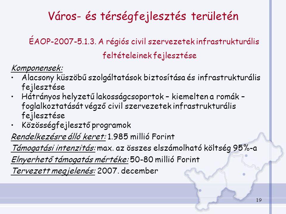 19 Város- és térségfejlesztés területén ÉAOP-2007-5.1.3.