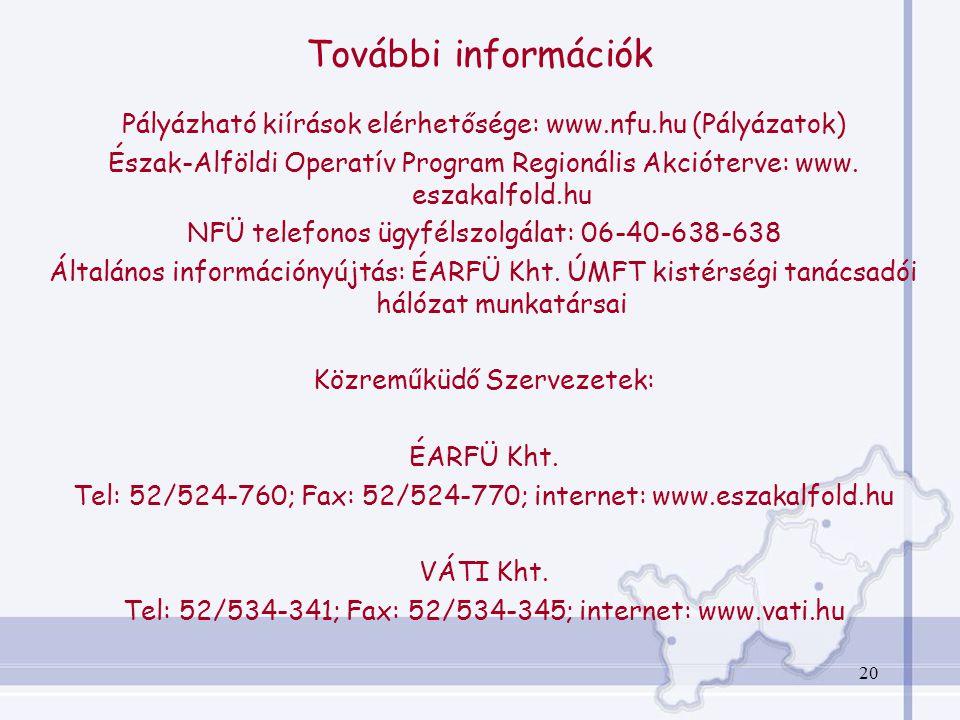 20 További információk Pályázható kiírások elérhetősége: www.nfu.hu (Pályázatok) Észak-Alföldi Operatív Program Regionális Akcióterve: www.