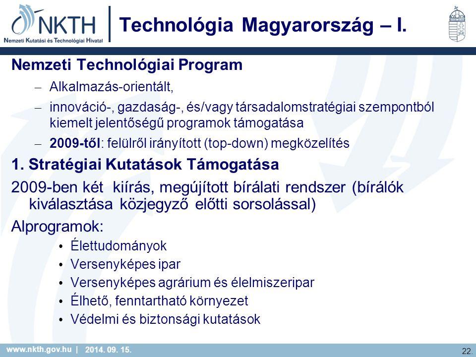 www.nkth.gov.hu | 22. 2014. 09. 15. Technológia Magyarország – I.