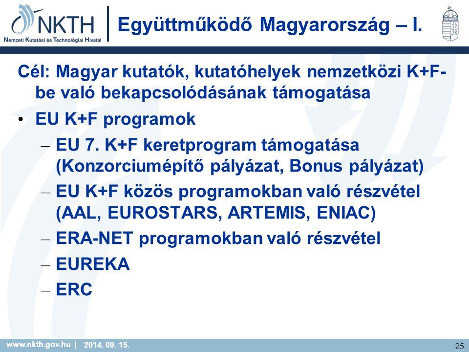 www.nkth.gov.hu | 25. 2014. 09. 15. Együttműködő Magyarország – I.
