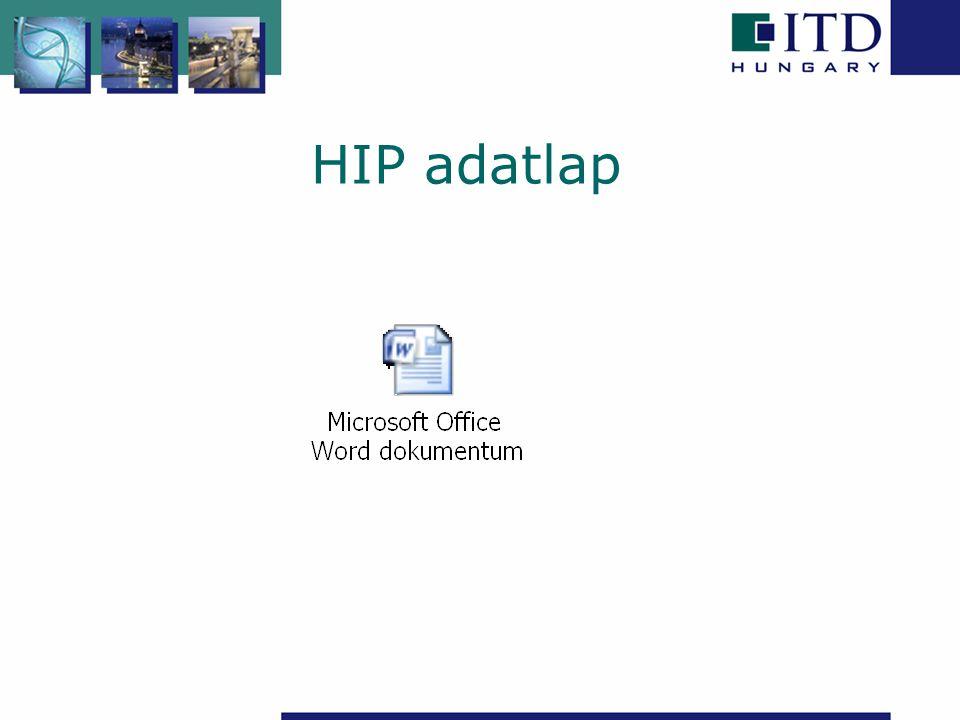 HIP koordinátor HIP projekt adatbázis építése, folyamatos frissítése Honlap frissítése Befektetői adatbázis építése több forrásból, ágazatspecifikusan.