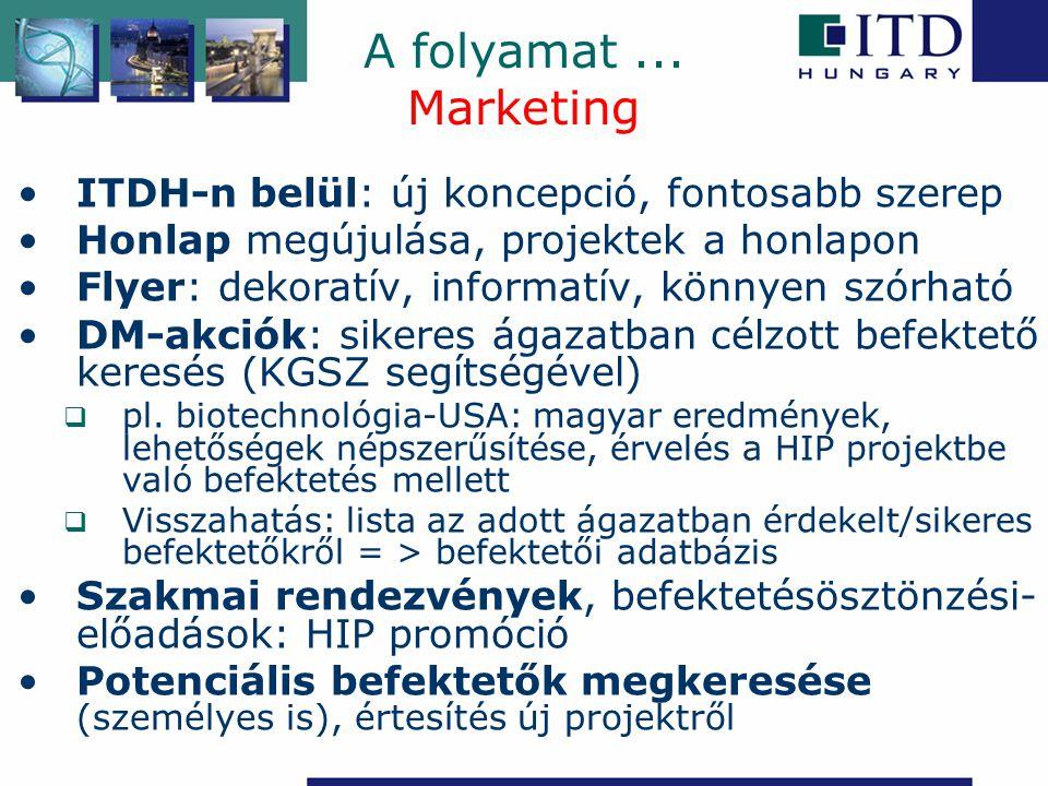 A folyamat... Marketing ITDH-n belül: új koncepció, fontosabb szerep Honlap megújulása, projektek a honlapon Flyer: dekoratív, informatív, könnyen szó