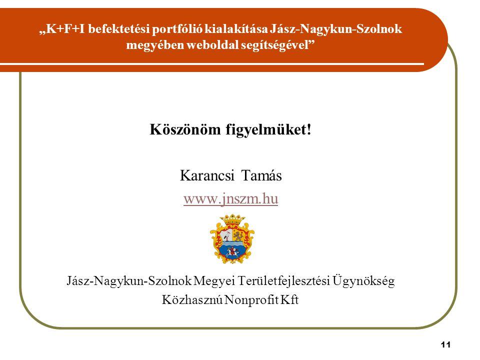"""11 """"K+F+I befektetési portfólió kialakítása Jász-Nagykun-Szolnok megyében weboldal segítségével Köszönöm figyelmüket."""