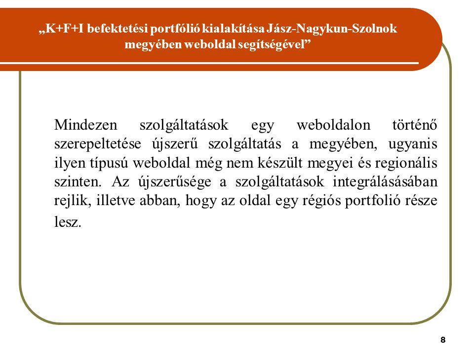 """8 """"K+F+I befektetési portfólió kialakítása Jász-Nagykun-Szolnok megyében weboldal segítségével Mindezen szolgáltatások egy weboldalon történő szerepeltetése újszerű szolgáltatás a megyében, ugyanis ilyen típusú weboldal még nem készült megyei és regionális szinten."""