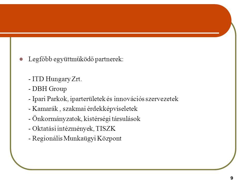 9 Legfőbb együttműködő partnerek: - ITD Hungary Zrt.