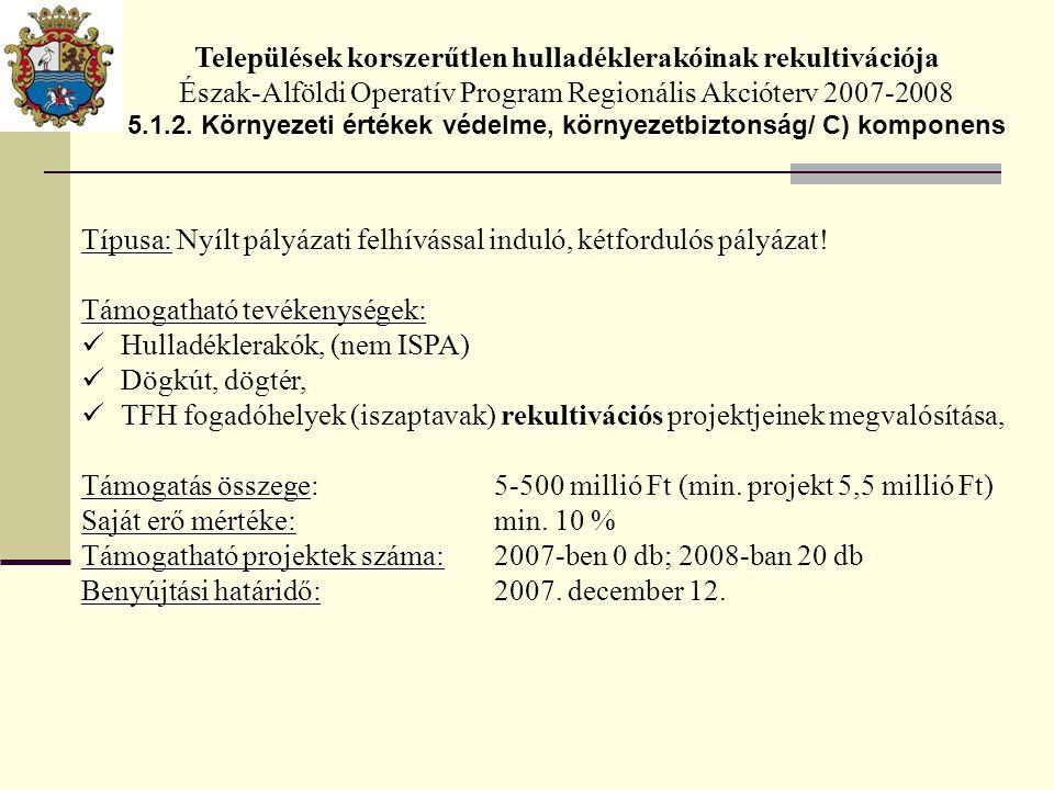 Települések korszerűtlen hulladéklerakóinak rekultivációja Észak-Alföldi Operatív Program Regionális Akcióterv 2007-2008 5.1.2.