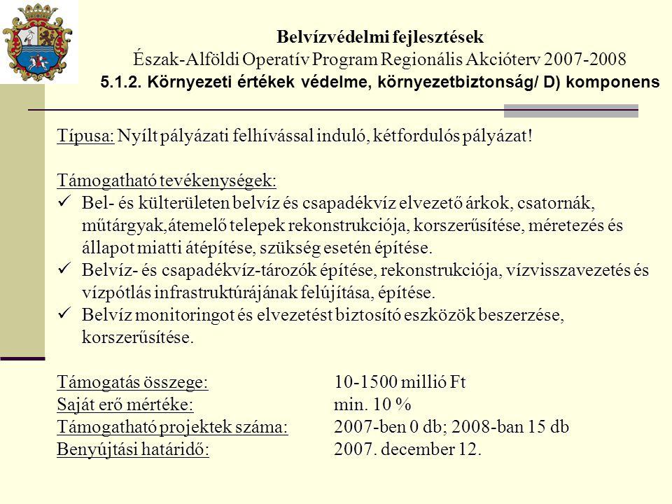 Belvízvédelmi fejlesztések Észak-Alföldi Operatív Program Regionális Akcióterv 2007-2008 5.1.2.