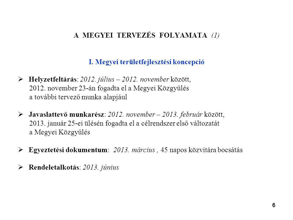 6 A MEGYEI TERVEZÉS FOLYAMATA (1) I. Megyei területfejlesztési koncepció  Helyzetfeltárás: 2012.