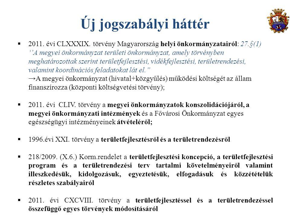 Új jogszabályi háttér  2011. évi CLXXXIX. törvény Magyarország helyi önkormányzatairól: 27.§(1) ''A megyei önkormányzat területi önkormányzat, amely