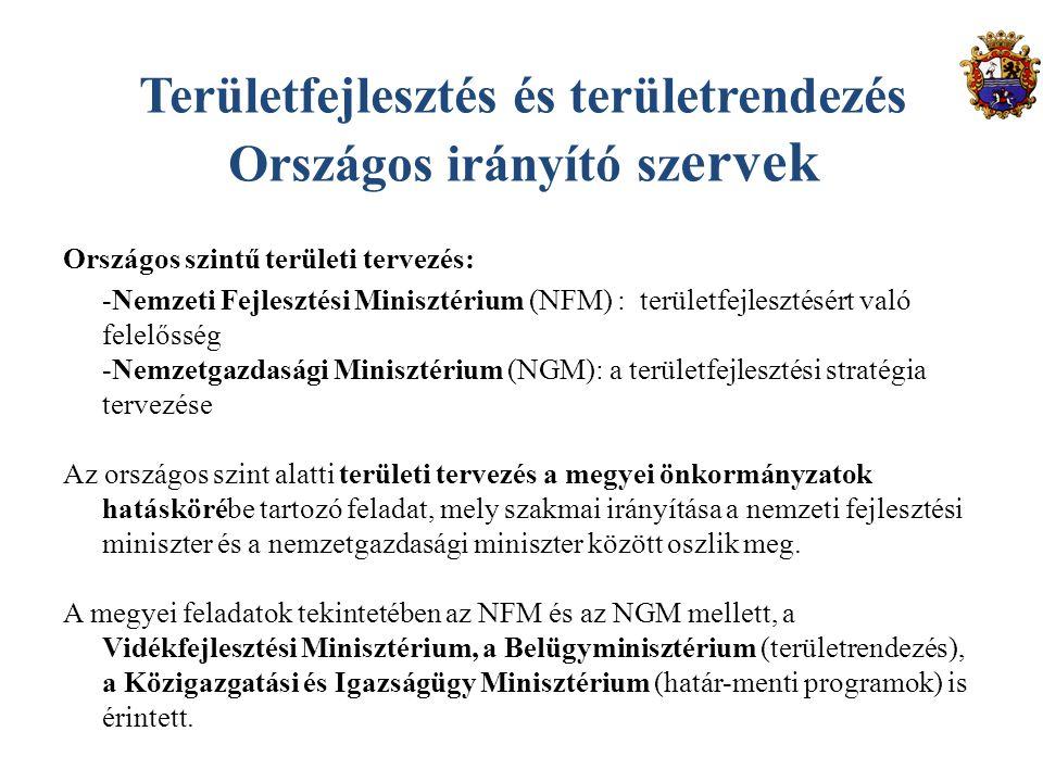 Területfejlesztés és területrendezés Országos irányító sz ervek Országos szintű területi tervezés: -Nemzeti Fejlesztési Minisztérium (NFM) : területfejlesztésért való felelősség -Nemzetgazdasági Minisztérium (NGM): a területfejlesztési stratégia tervezése Az országos szint alatti területi tervezés a megyei önkormányzatok hatáskörébe tartozó feladat, mely szakmai irányítása a nemzeti fejlesztési miniszter és a nemzetgazdasági miniszter között oszlik meg.
