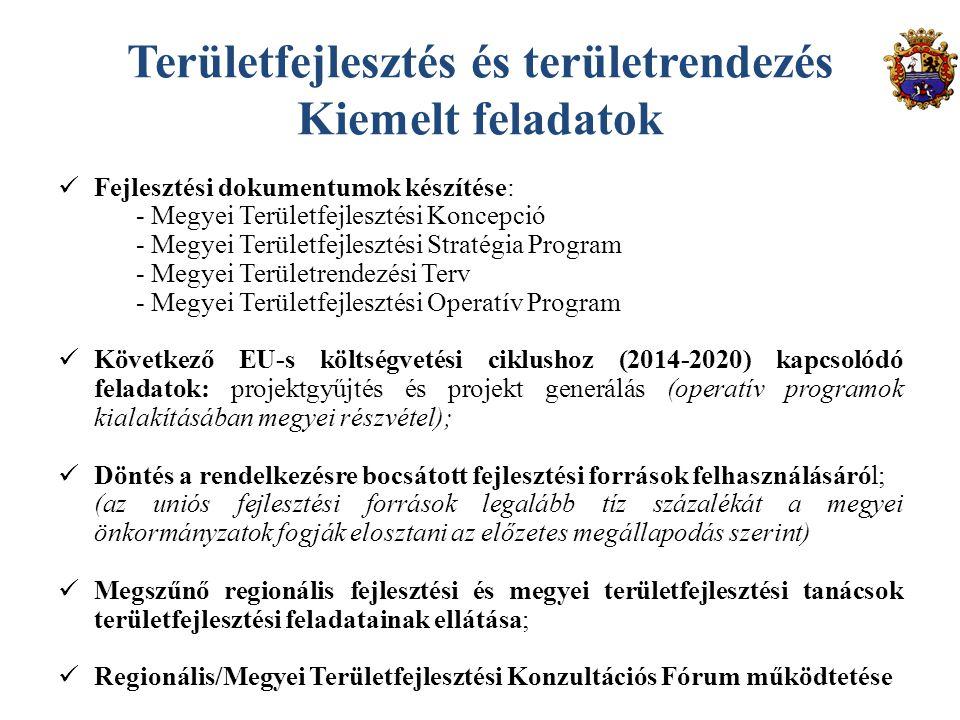 Területfejlesztés és területrendezés Kiemelt feladatok Fejlesztési dokumentumok készítése: - Megyei Területfejlesztési Koncepció - Megyei Területfejlesztési Stratégia Program - Megyei Területrendezési Terv - Megyei Területfejlesztési Operatív Program Következő EU-s költségvetési ciklushoz (2014-2020) kapcsolódó feladatok: projektgyűjtés és projekt generálás (operatív programok kialakításában megyei részvétel); Döntés a rendelkezésre bocsátott fejlesztési források felhasználásáról; (az uniós fejlesztési források legalább tíz százalékát a megyei önkormányzatok fogják elosztani az előzetes megállapodás szerint) Megszűnő regionális fejlesztési és megyei területfejlesztési tanácsok területfejlesztési feladatainak ellátása; Regionális/Megyei Területfejlesztési Konzultációs Fórum működtetése