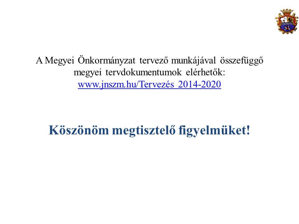 A Megyei Önkormányzat tervező munkájával összefüggő megyei tervdokumentumok elérhetők: www.jnszm.hu/Tervezés 2014-2020 Köszönöm megtisztelő figyelmüke