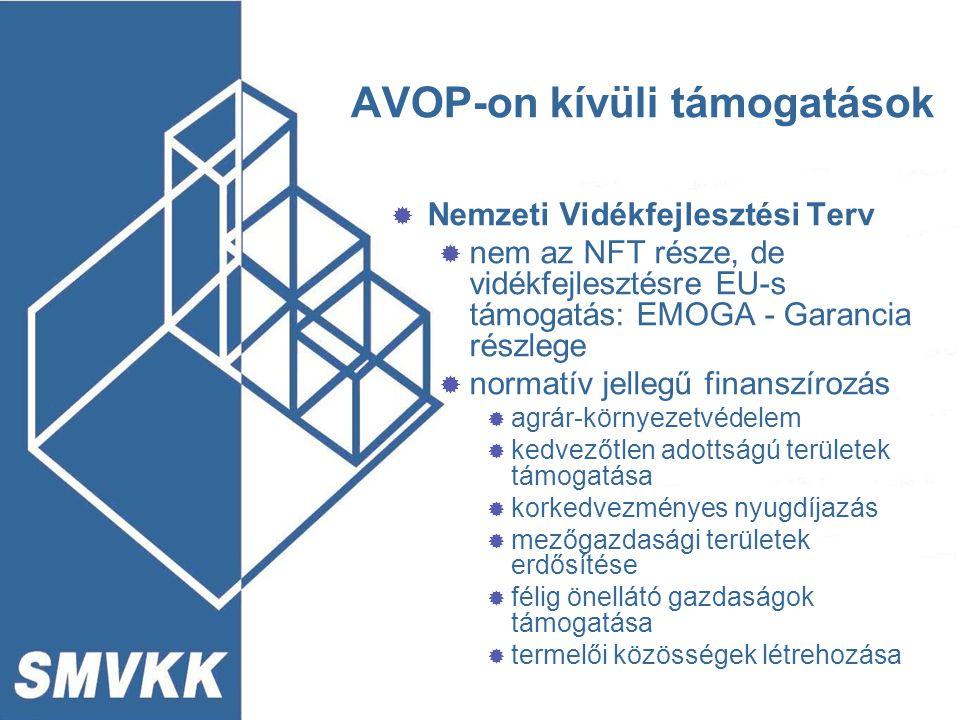 AVOP-on kívüli támogatások  Nemzeti Vidékfejlesztési Terv  nem az NFT része, de vidékfejlesztésre EU-s támogatás: EMOGA - Garancia részlege  normat