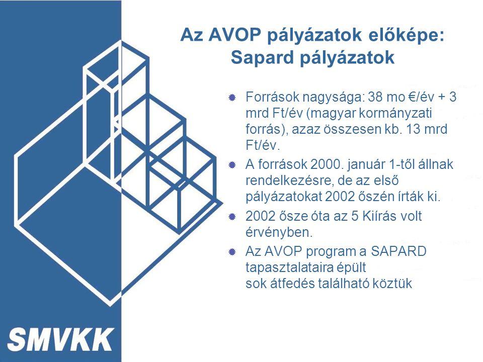 Az AVOP pályázatok előképe: Sapard pályázatok  Források nagysága: 38 mo €/év + 3 mrd Ft/év (magyar kormányzati forrás), azaz összesen kb. 13 mrd Ft/é