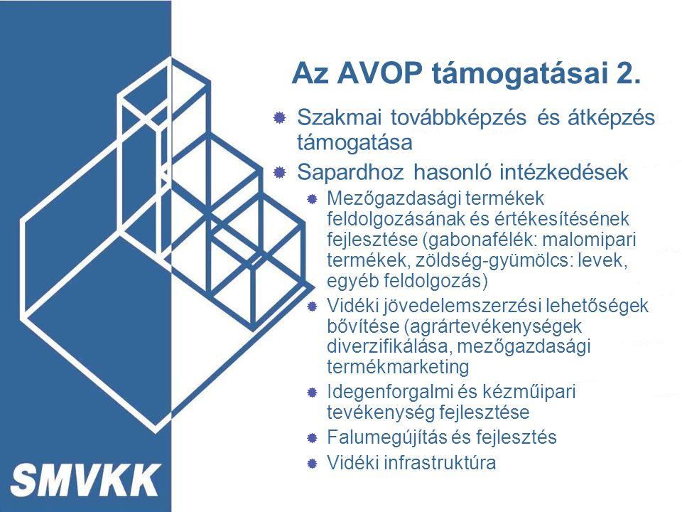 Az AVOP támogatásai 2.  Szakmai továbbképzés és átképzés támogatása  Sapardhoz hasonló intézkedések  Mezőgazdasági termékek feldolgozásának és érté