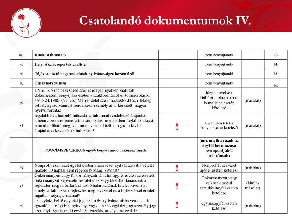 Csatolandó dokumentumok IV. ! ! ! !