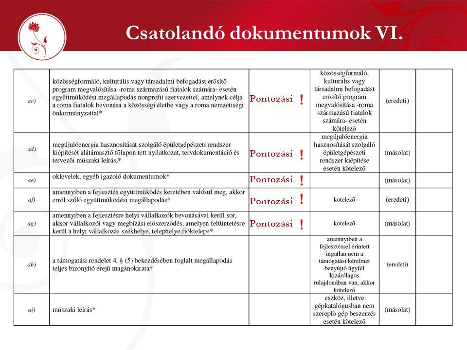 Csatolandó dokumentumok VI. Pontozási ! ! ! ! !