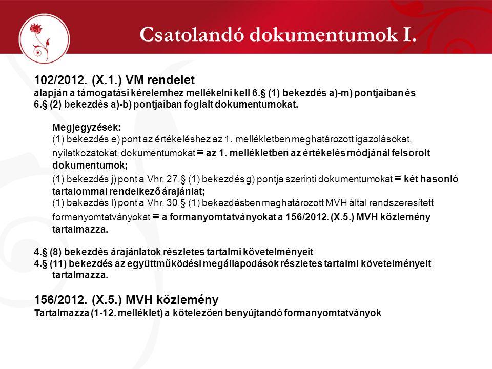 Csatolandó dokumentumok I. 102/2012. (X.1.) VM rendelet alapján a támogatási kérelemhez mellékelni kell 6.§ (1) bekezdés a)-m) pontjaiban és 6.§ (2) b