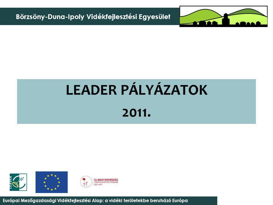 Együttműködés erősítése a Börzsöny-Duna-Ipoly Vidékfejlesztési Egyesület települései között – 1 019 605 Jogosult ügyfélkör Önkormányzat, önkormányzati társulás; Non-profit szervezetek; Egyházak; Mikro-kis-közép vállalkozás; Egyéni vállalkozó; Őstermelő; Magánszemély Keretösszeg (Nem LHH) 10.000.000 Ft (16 település +Ipolytölgyes) Keretösszeg (LHH) 0 Ft (Ipolytölgyes saját forrással itt nem rendelkezik) Minimális (Nem LHH) összeg 250.000 Ft Maximális (Nem LHH) összeg 2.500.000 Ft Minimális (LHH) összeg 0 Ft (Ipolytölgyes saját forrással itt nem rendelkezik) Maximális (LHH) összeg 0 Ft (Ipolytölgyes saját forrással itt nem rendelkezik) Intenzitások (Nem LHH) 100 % (Önkormányzat, önkormányzati társulás) 80 % (Non-profit szervezetek, Egyházak) 60 % (Mikro-kis-közép vállalkozás; Egyéni vállalkozó; Őstermelő; Magánszemély) Intenzitások (LHH) 100 % (Önkormányzat, önkormányzati társulás) 90 % (Non-profit szervezetek, Egyházak) 65 % (Mikro-kis-közép vállalkozás; Egyéni vállalkozó; Őstermelő; Magánszemély)