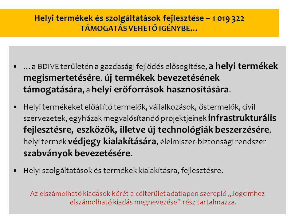 Helyi termékek és szolgáltatások fejlesztése – 1 019 322 TÁMOGATÁS VEHETŐ IGÉNYBE… …a BDIVE területén a gazdasági fejlődés elősegítése, a helyi termékek megismertetésére, új termékek bevezetésének támogatására, a helyi erőforrások hasznosítására.