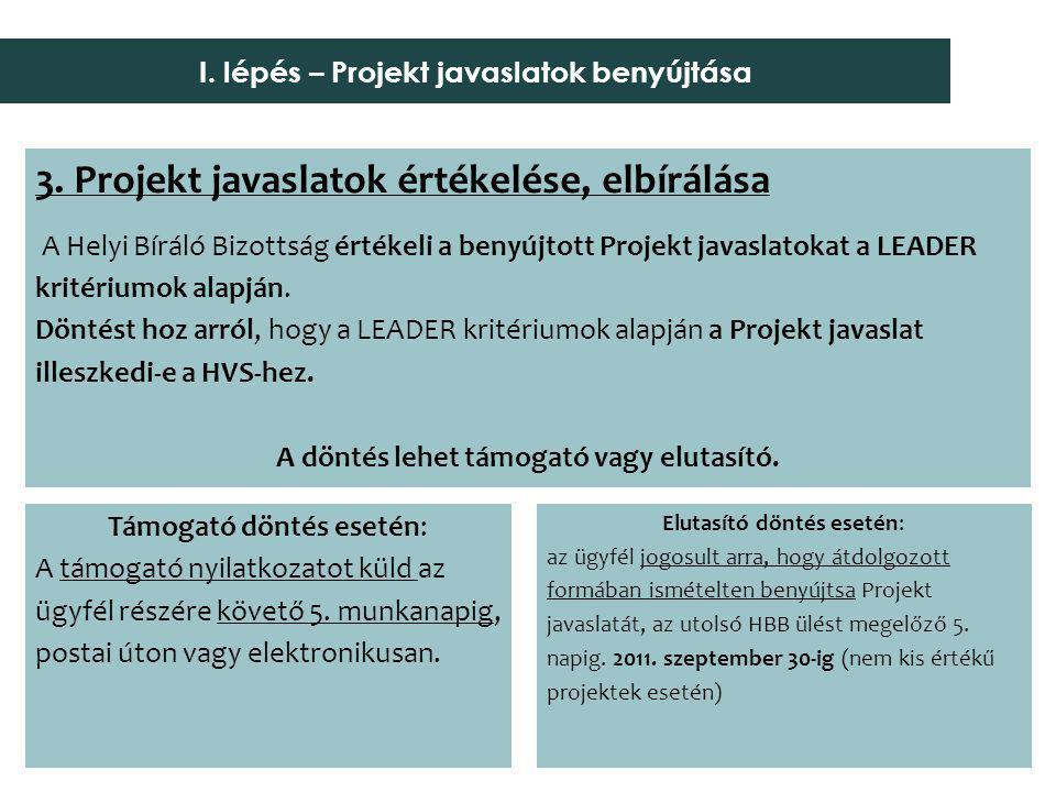 3. Projekt javaslatok értékelése, elbírálása A Helyi Bíráló Bizottság értékeli a benyújtott Projekt javaslatokat a LEADER kritériumok alapján. Döntést