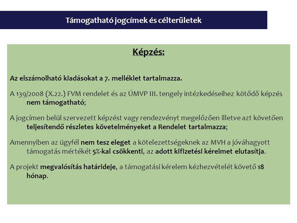 Támogatható jogcímek és célterületek Képzés: Az elszámolható kiadásokat a 7.