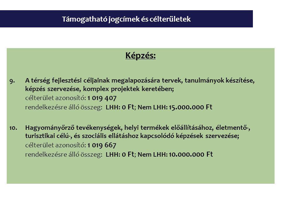 Támogatható jogcímek és célterületek Képzés: 9.A térség fejlesztési céljainak megalapozására tervek, tanulmányok készítése, képzés szervezése, komplex projektek keretében; célterület azonosító: 1 019 407 rendelkezésre álló összeg: LHH: 0 Ft ; Nem LHH: 15.000.000 Ft 10.Hagyományőrző tevékenységek, helyi termékek előállításához, életmentő-, turisztikai célú-, és szociális ellátáshoz kapcsolódó képzések szervezése; célterület azonosító: 1 019 667 rendelkezésre álló összeg: LHH: 0 Ft ; Nem LHH: 10.000.000 Ft