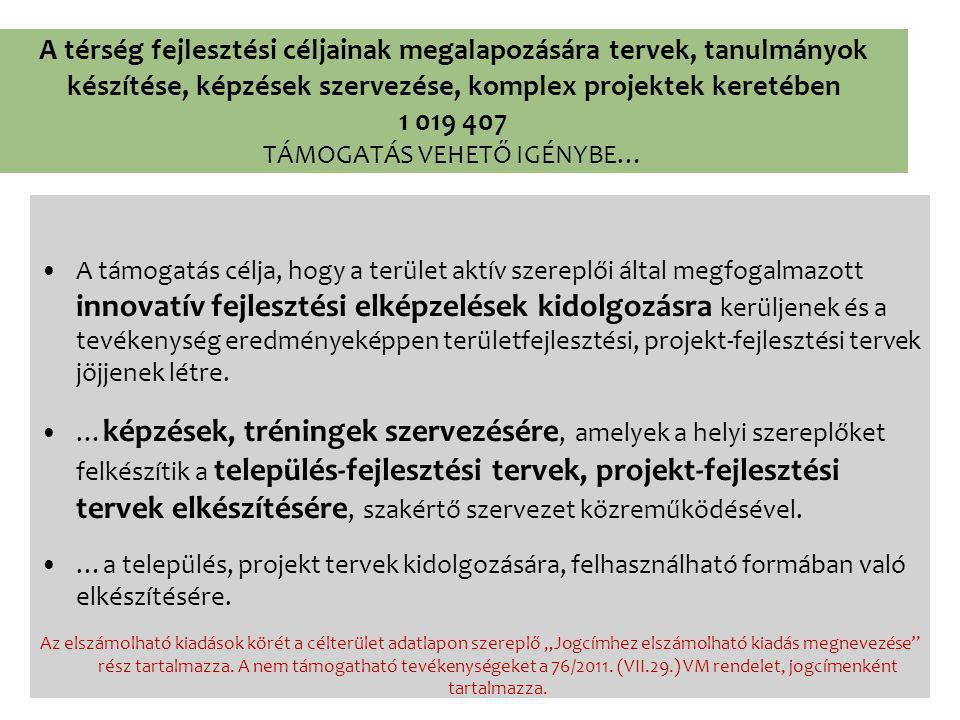 A térség fejlesztési céljainak megalapozására tervek, tanulmányok készítése, képzések szervezése, komplex projektek keretében 1 019 407 TÁMOGATÁS VEHETŐ IGÉNYBE… A támogatás célja, hogy a terület aktív szereplői által megfogalmazott innovatív fejlesztési elképzelések kidolgozásra kerüljenek és a tevékenység eredményeképpen területfejlesztési, projekt-fejlesztési tervek jöjjenek létre.