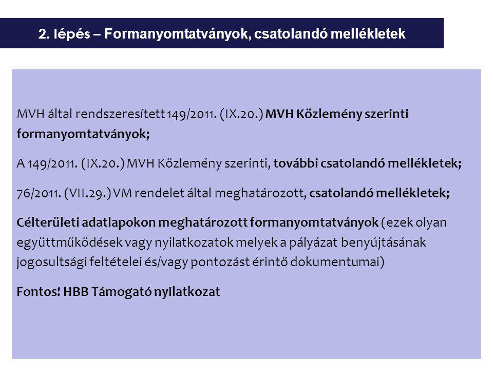 MVH által rendszeresített 149/2011. (IX.20.) MVH Közlemény szerinti formanyomtatványok; A 149/2011.