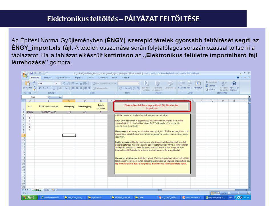 Elektronikus feltöltés – PÁLYÁZAT FELTÖLTÉSE Az Építési Norma Gyűjteményben (ÉNGY) szereplő tételek gyorsabb feltöltését segíti az ÉNGY_import.xls fájl.