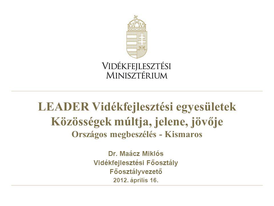 LEADER Vidékfejlesztési egyesületek Közösségek múltja, jelene, jövője Országos megbeszélés - Kismaros Dr.
