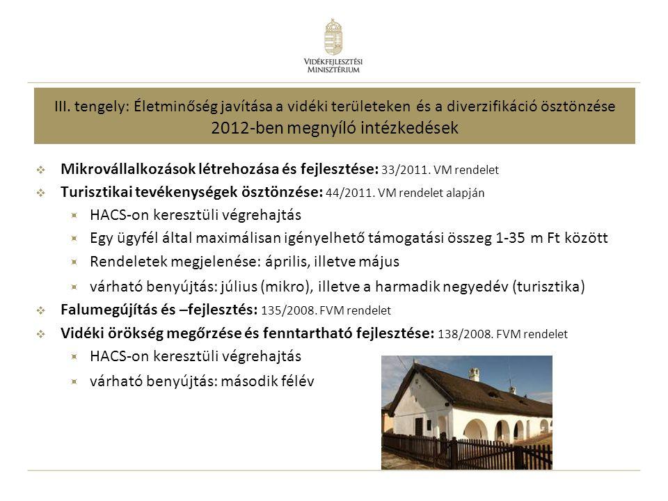III. tengely: Életminőség javítása a vidéki területeken és a diverzifikáció ösztönzése 2012-ben megnyíló intézkedések  Mikrovállalkozások létrehozása