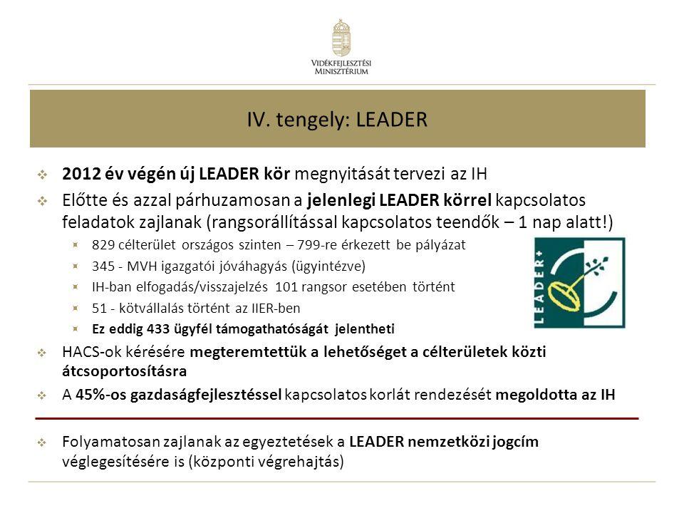 IV. tengely: LEADER  2012 év végén új LEADER kör megnyitását tervezi az IH  Előtte és azzal párhuzamosan a jelenlegi LEADER körrel kapcsolatos felad