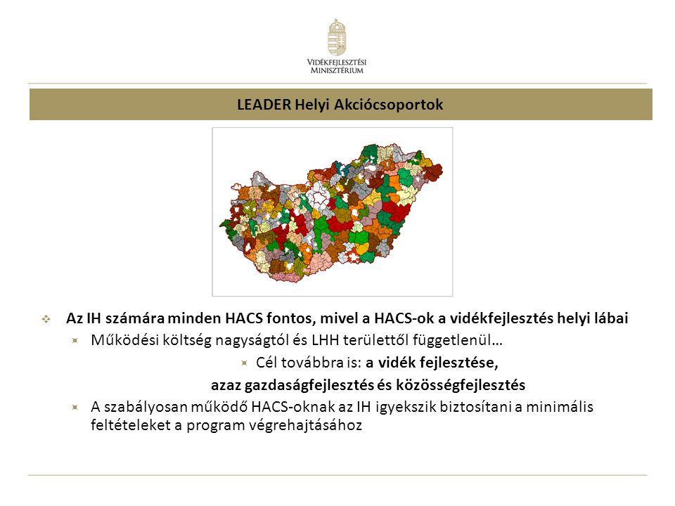  Az IH számára minden HACS fontos, mivel a HACS-ok a vidékfejlesztés helyi lábai  Működési költség nagyságtól és LHH területtől függetlenül…  Cél továbbra is: a vidék fejlesztése, azaz gazdaságfejlesztés és közösségfejlesztés  A szabályosan működő HACS-oknak az IH igyekszik biztosítani a minimális feltételeket a program végrehajtásához LEADER Helyi Akciócsoportok