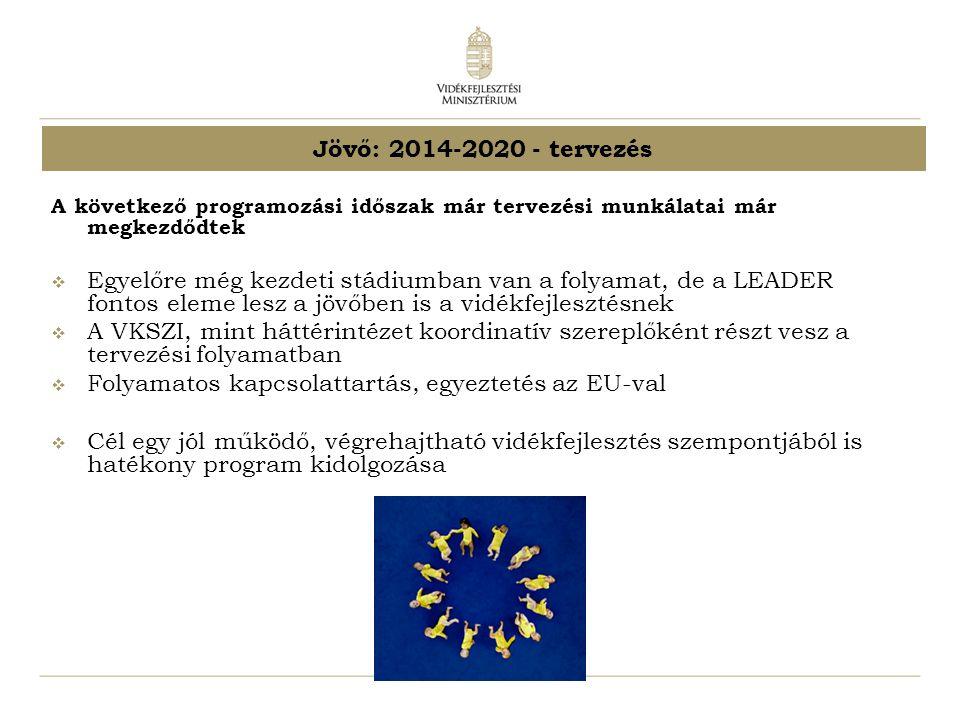 Jövő: 2014-2020 - tervezés A következő programozási időszak már tervezési munkálatai már megkezdődtek  Egyelőre még kezdeti stádiumban van a folyamat, de a LEADER fontos eleme lesz a jövőben is a vidékfejlesztésnek  A VKSZI, mint háttérintézet koordinatív szereplőként részt vesz a tervezési folyamatban  Folyamatos kapcsolattartás, egyeztetés az EU-val  Cél egy jól működő, végrehajtható vidékfejlesztés szempontjából is hatékony program kidolgozása