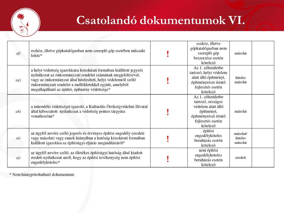 Csatolandó dokumentumok VI. ! ! ! ! !