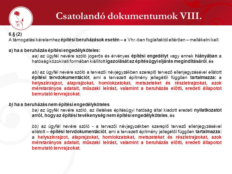 Csatolandó dokumentumok VIII.