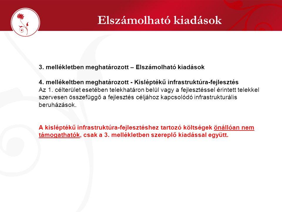 Elszámolható kiadások 3. mellékletben meghatározott – Elszámolható kiadások 4.
