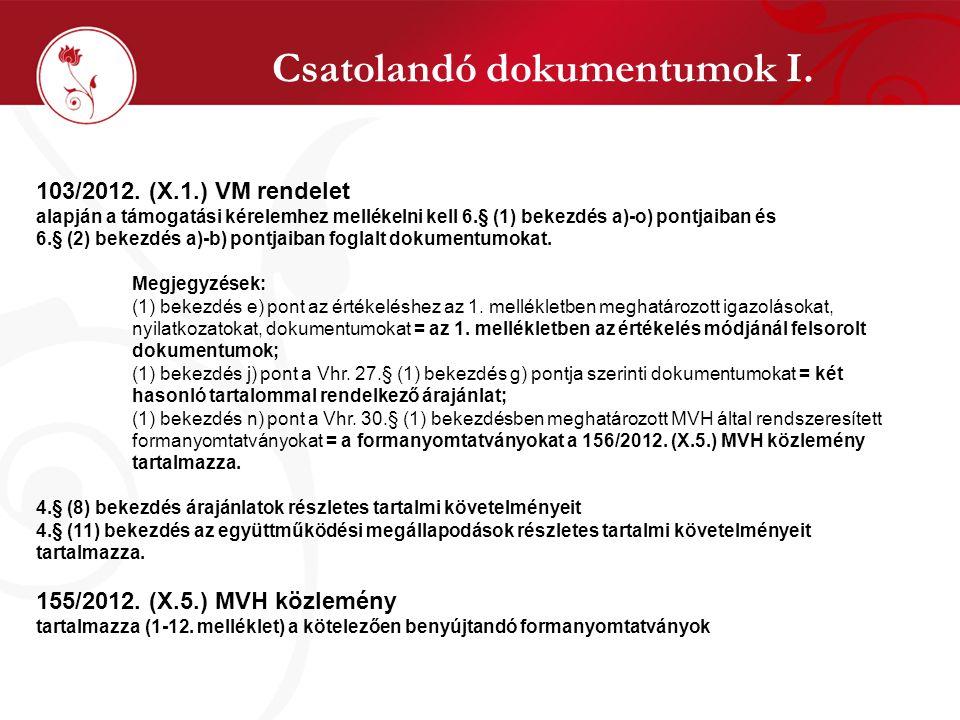 Csatolandó dokumentumok I. 103/2012.