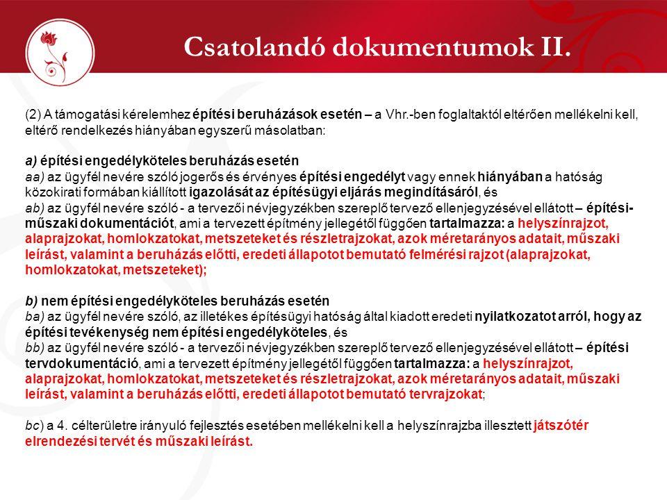 Csatolandó dokumentumok II.