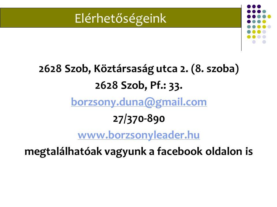 Elérhetőségeink 2628 Szob, Köztársaság utca 2. (8.