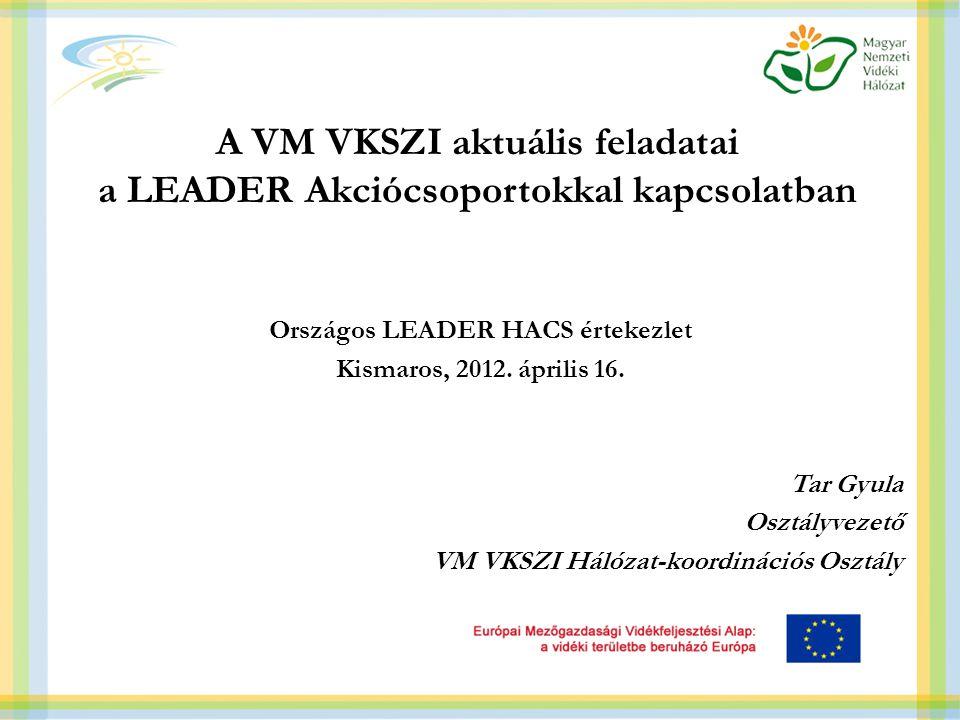 A VM VKSZI aktuális feladatai a LEADER Akciócsoportokkal kapcsolatban Országos LEADER HACS értekezlet Kismaros, 2012.