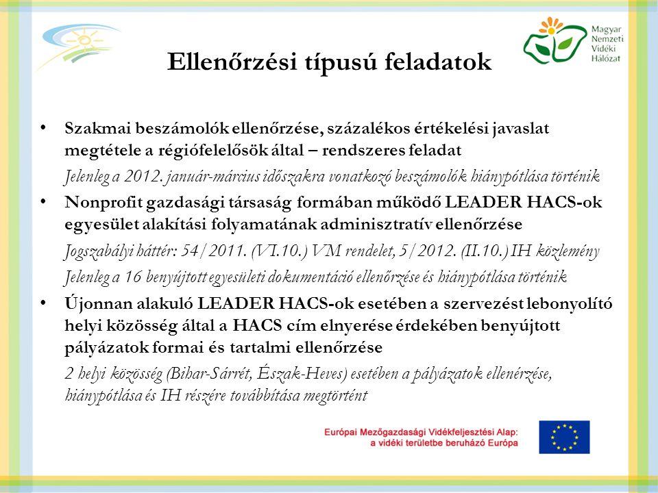 Ellenőrzési típusú feladatok Szakmai beszámolók ellenőrzése, százalékos értékelési javaslat megtétele a régiófelelősök által – rendszeres feladat Jelenleg a 2012.