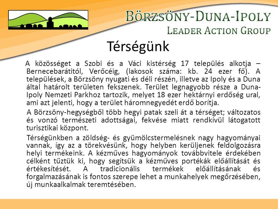 Térségünk A közösséget a Szobi és a Váci kistérség 17 település alkotja – Bernecebarátitól, Verőcéig, (lakosok száma: kb.