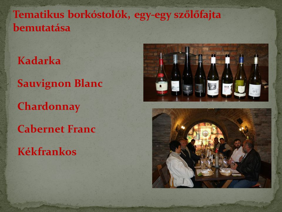 Kadarka Sauvignon Blanc Chardonnay Cabernet Franc Kékfrankos