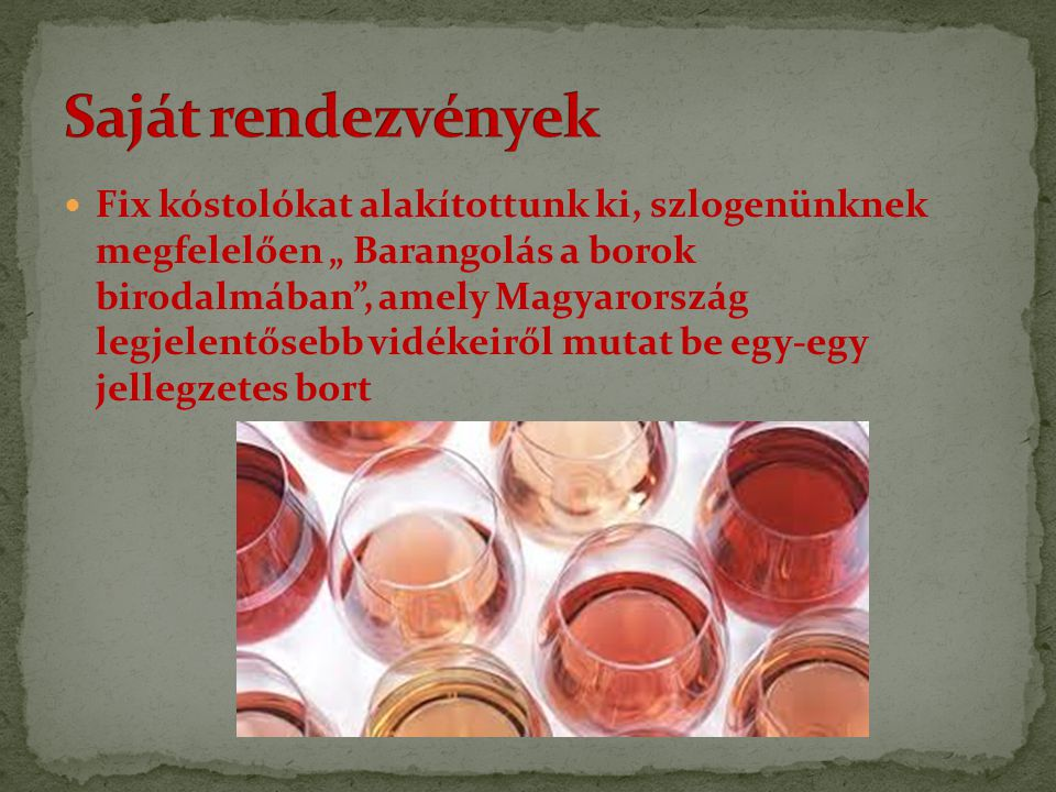 """Fix kóstolókat alakítottunk ki, szlogenünknek megfelelően """" Barangolás a borok birodalmában"""", amely Magyarország legjelentősebb vidékeiről mutat be eg"""