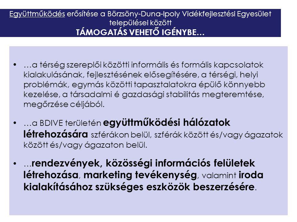 Együttműködés erősítése a Börzsöny-Duna-Ipoly Vidékfejlesztési Egyesület települései között TÁMOGATÁS VEHETŐ IGÉNYBE… …a térség szereplői közötti info