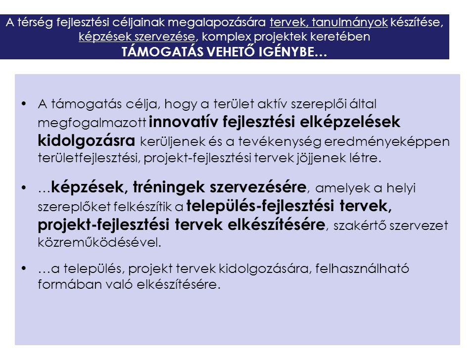 A térség fejlesztési céljainak megalapozására tervek, tanulmányok készítése, képzések szervezése, komplex projektek keretében TÁMOGATÁS VEHETŐ IGÉNYBE